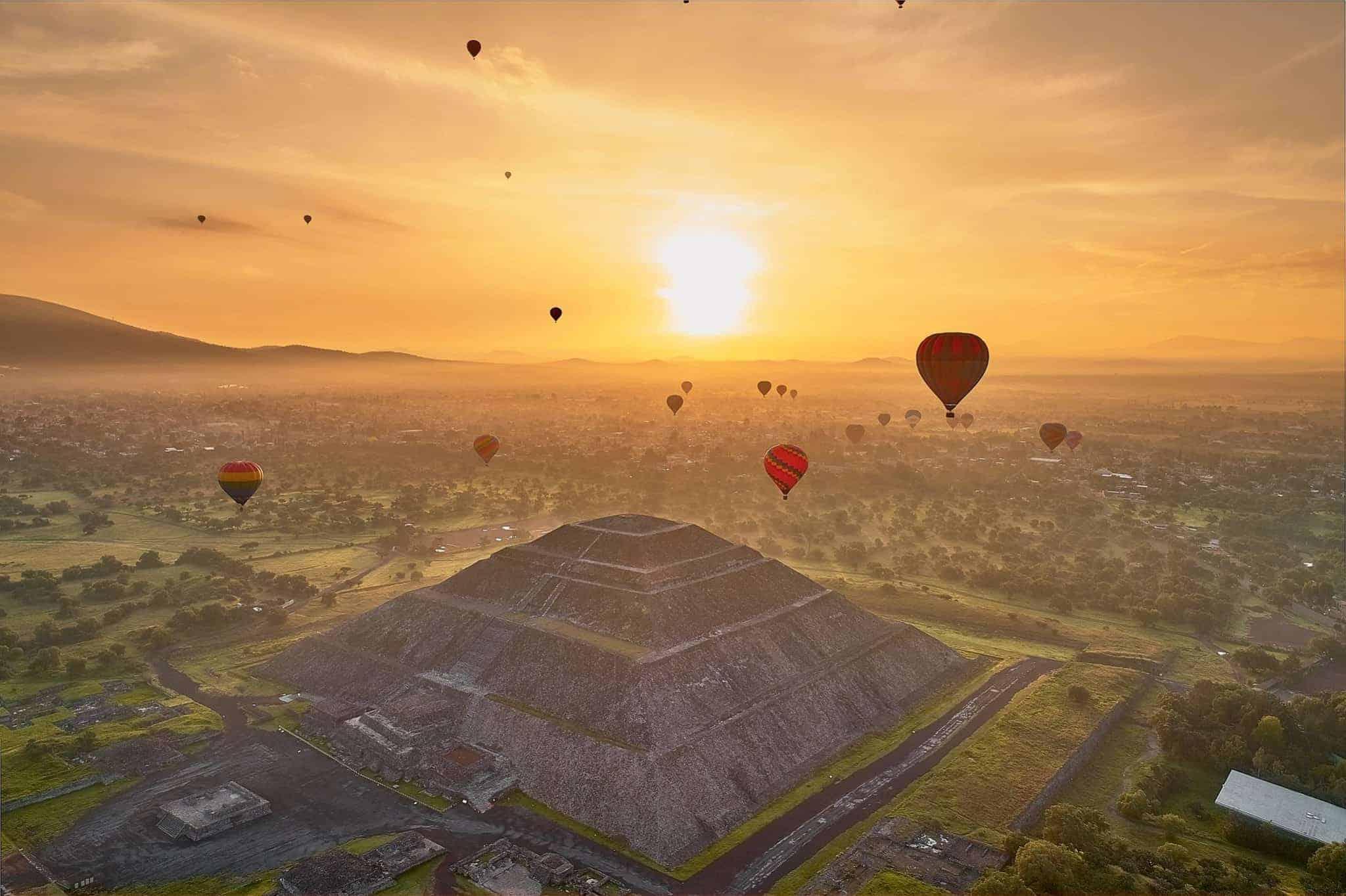 globos aerostáticos en Teotihuacán 2020